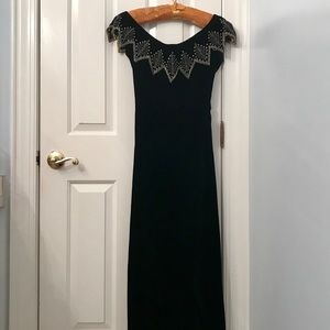 Vintage black velvet beaded dress size 2